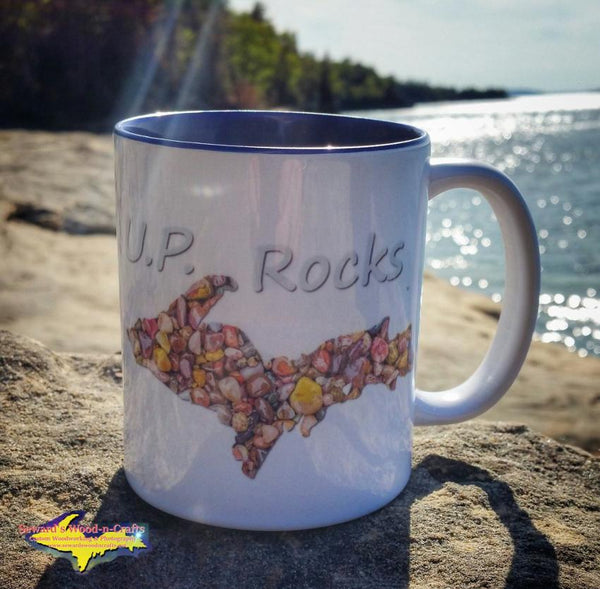 Michigan Made Upper Peninsula 11oz Mug. U.P. Rocks Coffee Cup! Yooper gifts collectibles kitchenware.