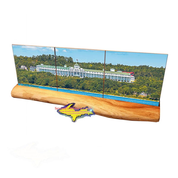 A panoramic view of the Grand Hotel Mackinac Island on three ceramic tile coasters making a unique Michigan Made gift!