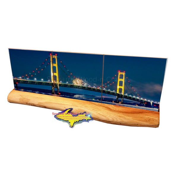 Michigan Made Drink Coasters panoramic view of the Mackinac Bridge with fireworks