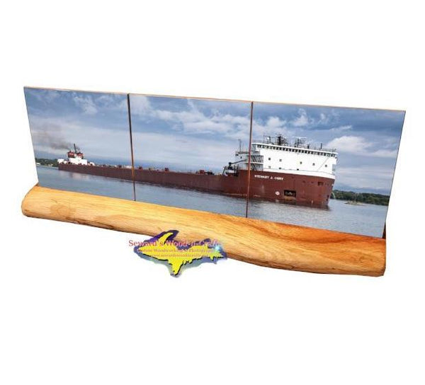Stewart J. Cort Panoramic Photo Tile Coaster Set Great Lakes Freighters Gifts & Collectibles