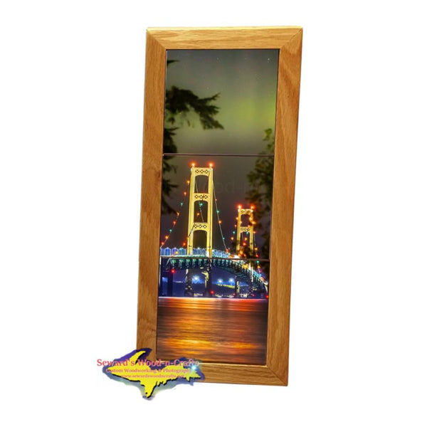 Mackinac Bridge Northern Lights Michigan Made Framed Art Tiles