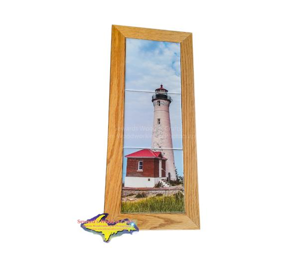 Crisp Point Lighthouse Oak Framed Photo Tiles Yooper Gifts
