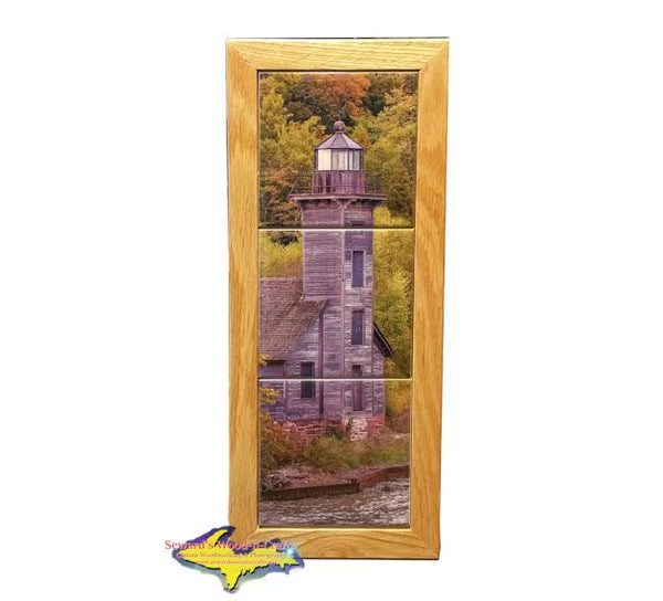 Grand Island Lighthouse Michigan Made Framed Art Tiles Pictured Rocks Gifts & Collectibles
