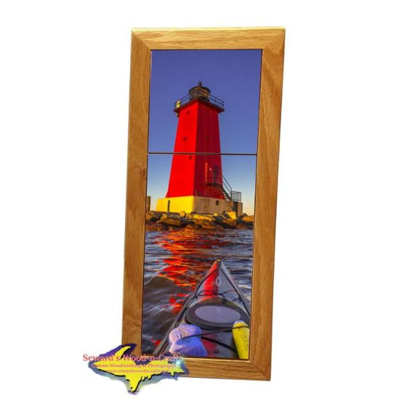 Kayaking Manistique Lighthouse Michigan Made Framed Art Tiles Great Kayaking Gifts