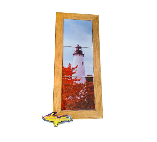 Whitefish Point Lighthouse Michigan Made Framed Art Tiles Sault Ste. Marie, Michigan Gifts