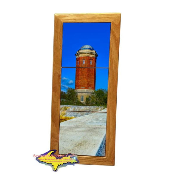 Manistique Historical Water Tower Michigan Made Framed Art Tiles Home Office Decor