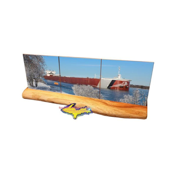 Great Lakes Freighter Edwin Gott Coaster Tile Set On A Wood Base