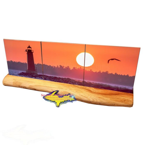 3pc Michigan Made Panoramic Drink Coaster Set Manistique's East Breakwater Lighthouse Sunset
