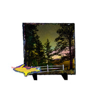 Michigan Northern Lights Photo Gift Slate Tile Big Pines Lake Superior