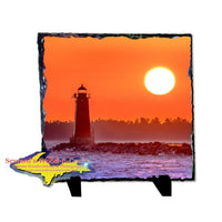 Manistique East Breakwater Lighthouse Sunset Photo Slate Michigan Made Upper Peninsula Art Gifts