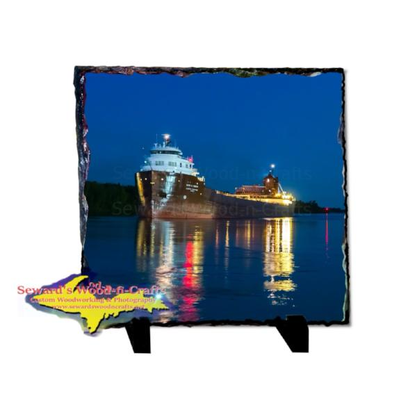 Rustic Photo Slate Great Lakes Freighter Kaye E. Barker Maritime Gifts For Boat Fans