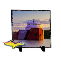 Great Lakes Freighter Roger Blough Rustic Photo Slate Best Gifts For Boatnerds