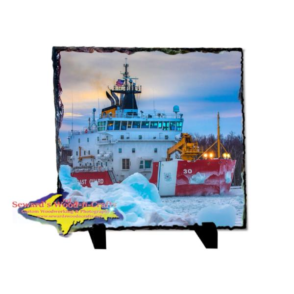 Rustic Photo Slate Coast Guard Cutter Mackinaw Home decor and gifts