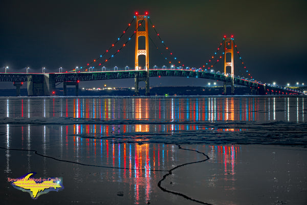 Michigan Photos Icy Reflections Mackinac Bridge. Photos, canvas, metal, & little photo gifts