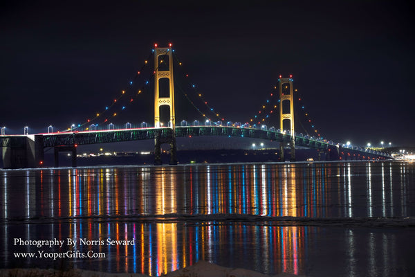 Michigan Landscape Photography Winter Reflections Mackinac Bridge