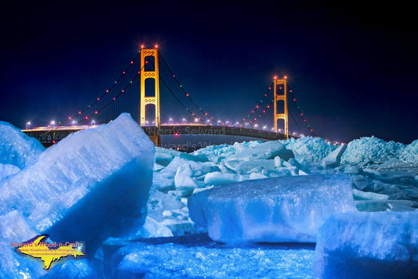 Mackinac Bridge Blue Ice On A Full Moon Night Photo Michigan Photography
