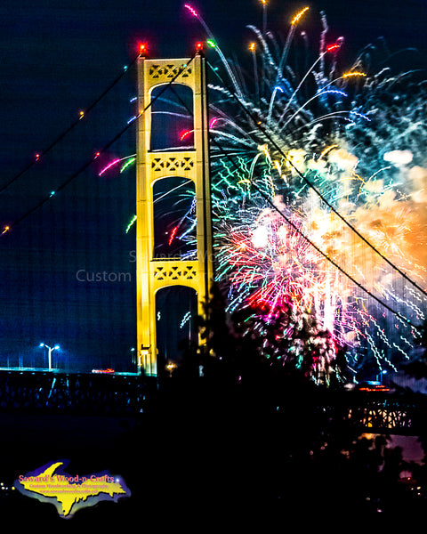 Firework Over Mackinac Bridge Photo Michigan Photography At Great Prices