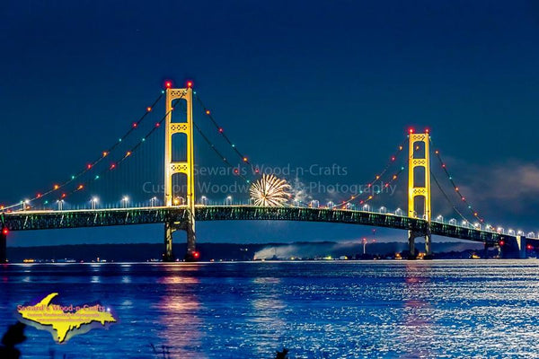 Michigan Landscape Photography Mackinac Bridge Fireworks Photo Image