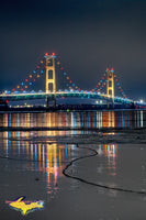 Michigan Landscape Photography Mackinac Bridge Icy Reflections