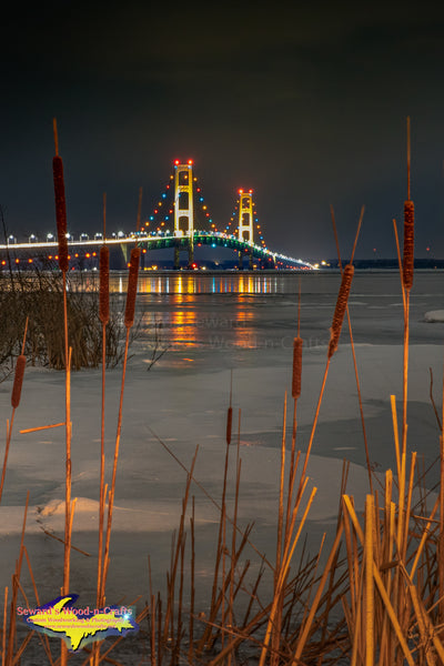 Michigan Landscape Photography Mackinac Bridge Winter Reflections