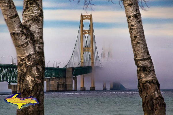 Michigan Landscape Photography Mackinac Bridge Spring Fog Photo Image For Sale