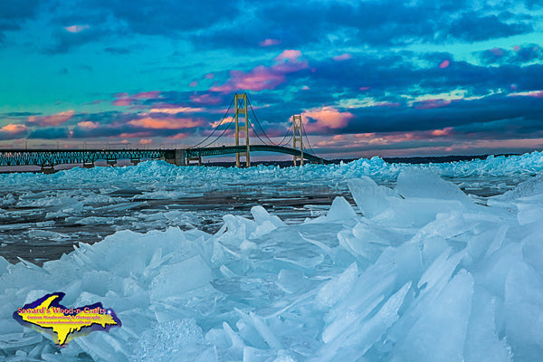 Michigan Photography Mackinac Bridge Blue Ice Image Best Photos For Home Interior Decor
