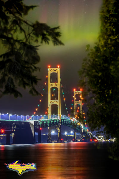 Mackinac Bridge Northern Lights Michigan Landscape Photography