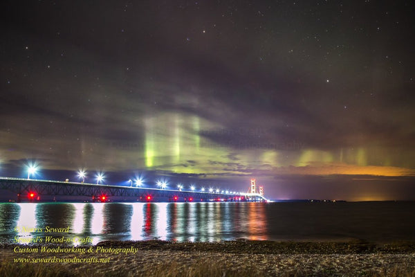 Northern Lights Mackinac Bridge Michigan Landscape Photography For Home Office Decor