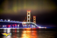 Michigan Landscape Photography Northern Lights Over Mackinac Bridge Photo For Office Decor