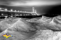 Michigan Black & White Photography Mackinac Bridge Winter Ice Black & White Michigan photos