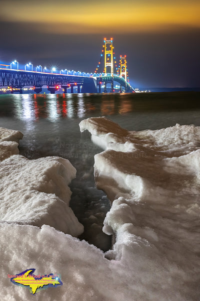 Michigan Photography   Mackinac Bridge Winter Ice Portrait Michigan photos, canvas, metal, prints