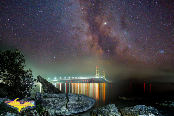 Michigan Art Milky Way Over Mackinac Bridge Michigan