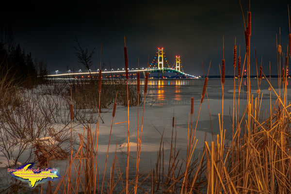 Michigan Photography Mackinac Bridge Winter Reflections.