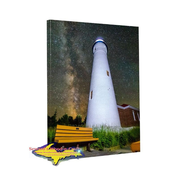 Michigan Landscape Photography Crisp Point Lighthouse Milky Way Canvas Wrap Bested Priced