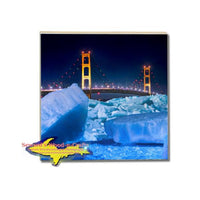 Michigan Drink Coasters Blue Ice Mackinac Bridge Michigan Made Gifts & Collectibles