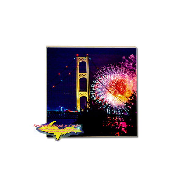Fireworks over the Mackinac Bridge on a Michigan made coaster