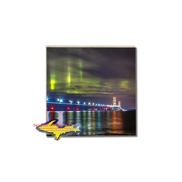 Northern Lights over Mackinac bridge make great michigan gifts