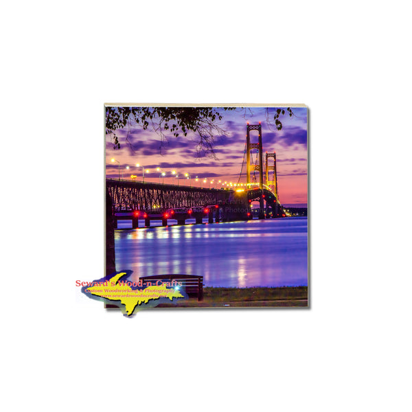 Capturing a setting sun over the Straits Of Mackinac brings this beautiful tile coaster to life