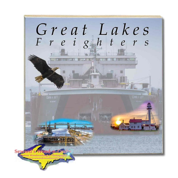 Great Lakes Freighters Drink Coasters & Trivets Edwin H Gott Photo Tiles Perfect gifts for boat nerds