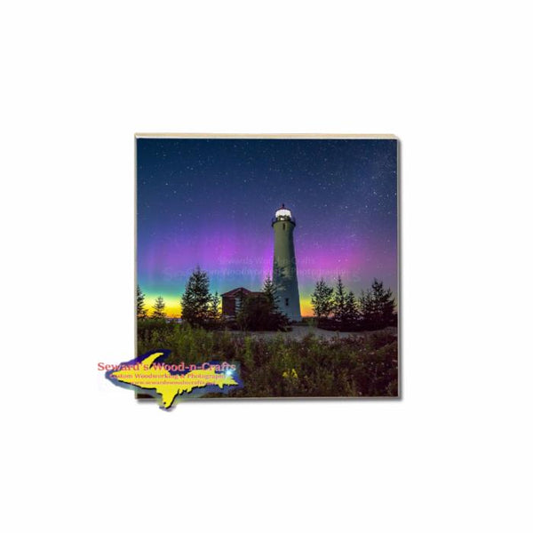 Crisp Point Lighthouse Northern Lights Single Coaster For Build Your Own Michigan Coaster Set