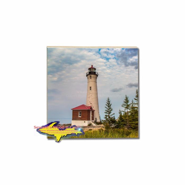 Crisp Point Lighthouse coaster tile for making your own Michigan coaster sets