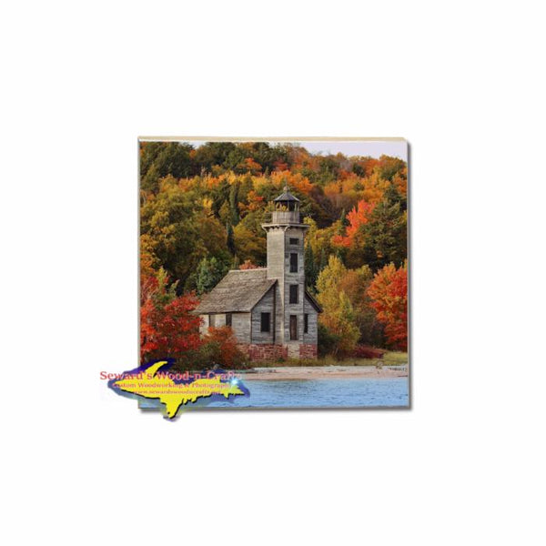 Autumn Colors Over Grand Island Lighthouse on a Michigan Made Coaster