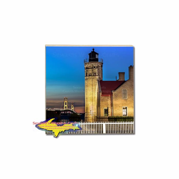 Old Mackinac Lighthouse on a Photo Coaster to build your own Michigan coaster set