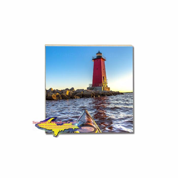 Kayaking Manistique Lighthouse Photo On Michigan Made Unique Coasters