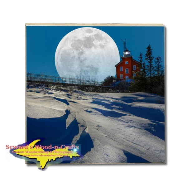 Michigan Drink Coasters Super Snow Moon Marquette Michigan Yooper Gifts