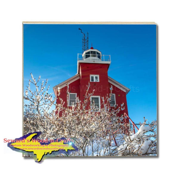 Michigan Made Drink Coasters Marquette Lighthouse Winter Ice Michigans Upper Peninsula Photos & Gifts