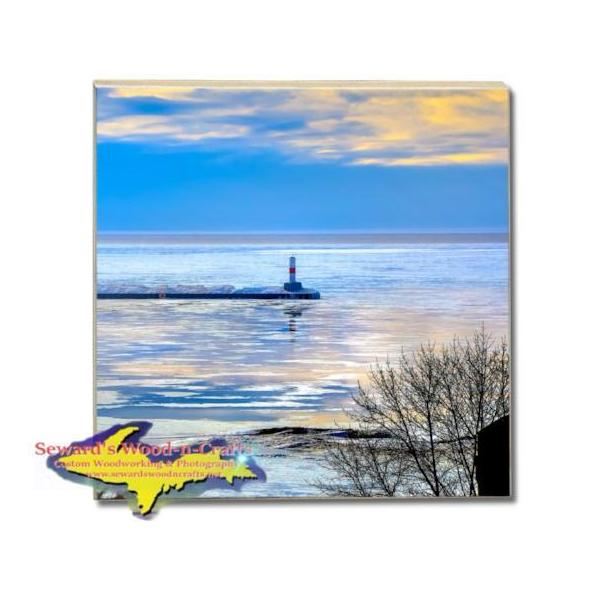 Lighthouse Petoskey Pierhead Drink Coaster Michigan Made Gifts & Collectibles