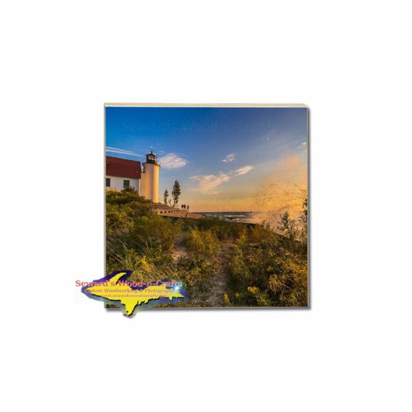 Betsie Lighthouse Sunset Coaster Michigan's photo on vivid tile coasters