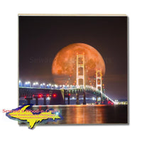 Michigan Coasters, Trivets, & Slate    Mackinac Bridge Full Blood Wolf Moon Digital Art (Composite Image)