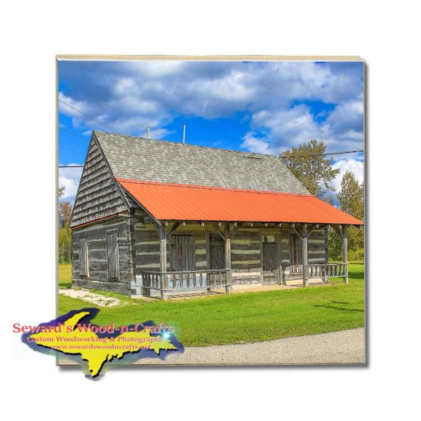 Michigan Drink Coasters Manistique Historical Log Cabin Michigan's Upper Peninsula Gifts And Collectibles